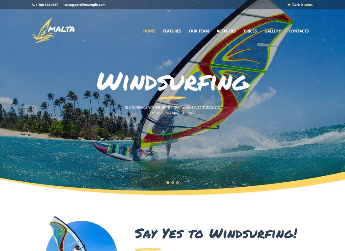 Malta | Windsurfing, Kitesurfing & Wakesurfing Center WordPress Theme  Website Template