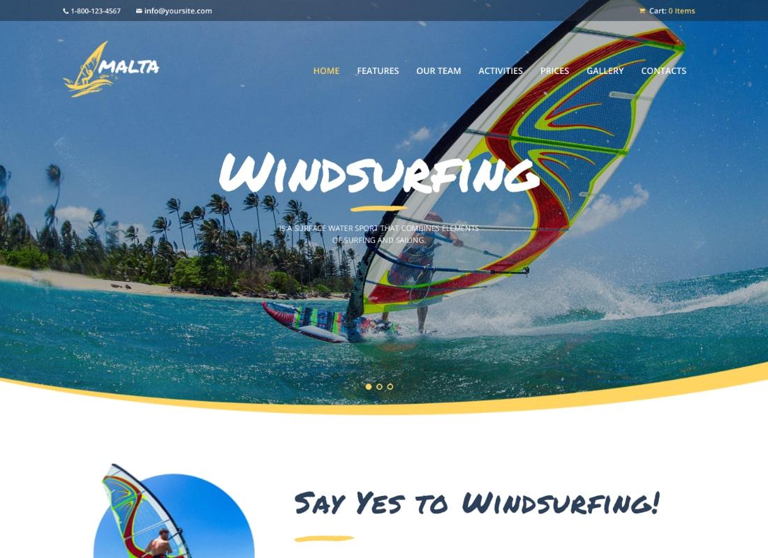 Malta - Windsurfing, Kitesurfing & Wakesurfing Center WordPress Theme Website Template