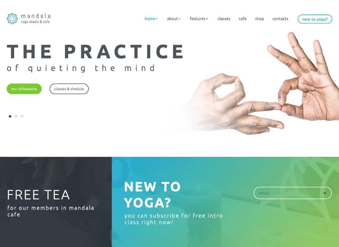 Mandala | Yoga Studio and Wellness Center WordPress Theme Website Template