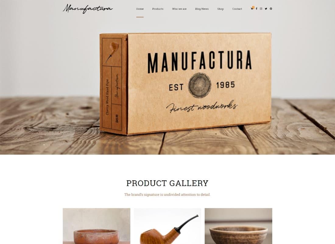 Manufactura | Handmade Crafts, Artisan, Artist WordPress Theme Website Template