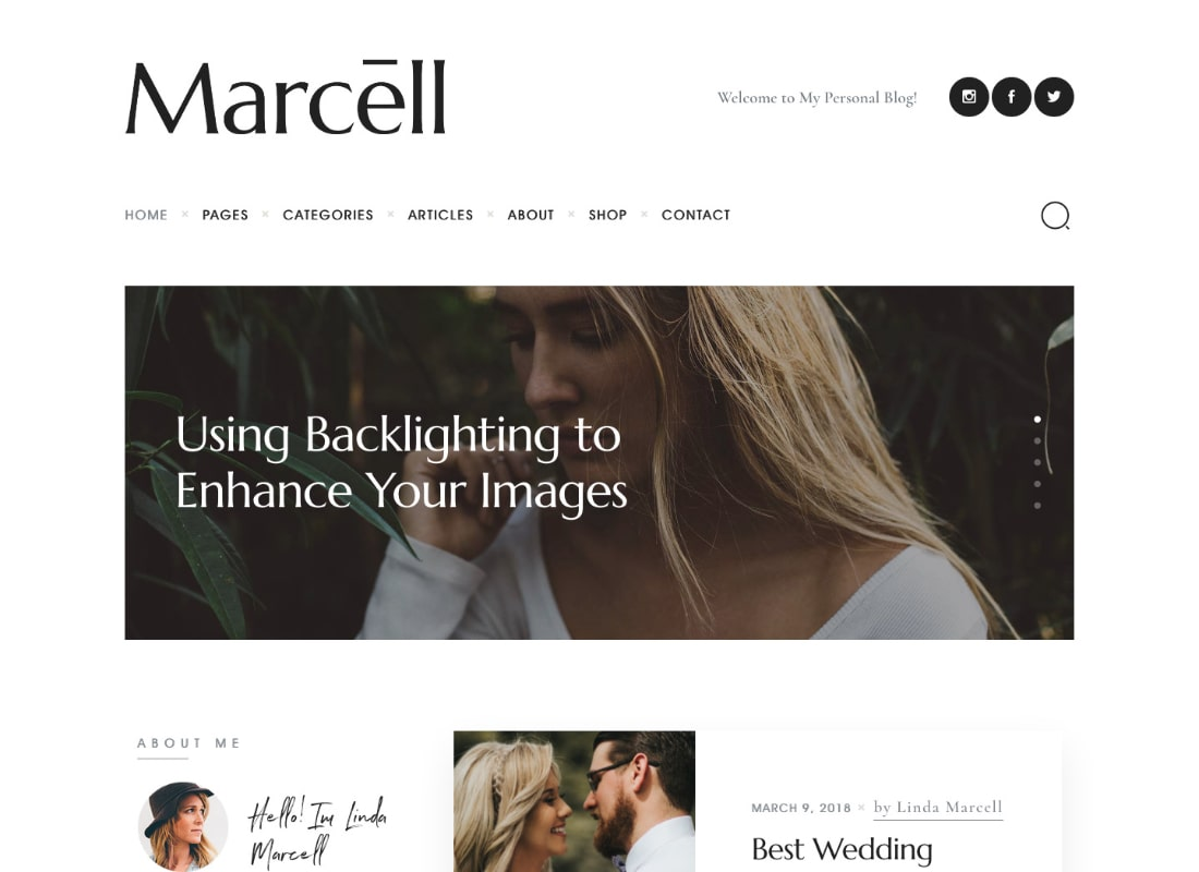 Marcell   20+ Layouts Multi-Concept Personal Blog & Magazine WordPress Theme Website Template