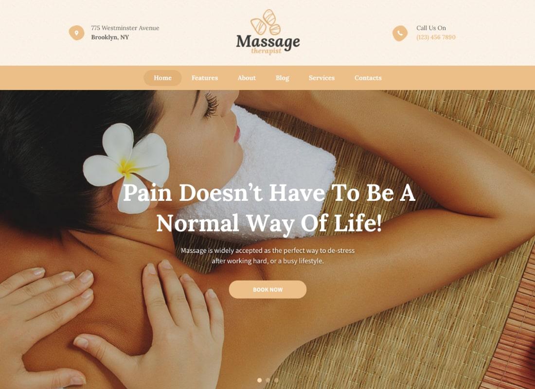 Massage Therapist and Spa Salon WordPress Theme Website Template