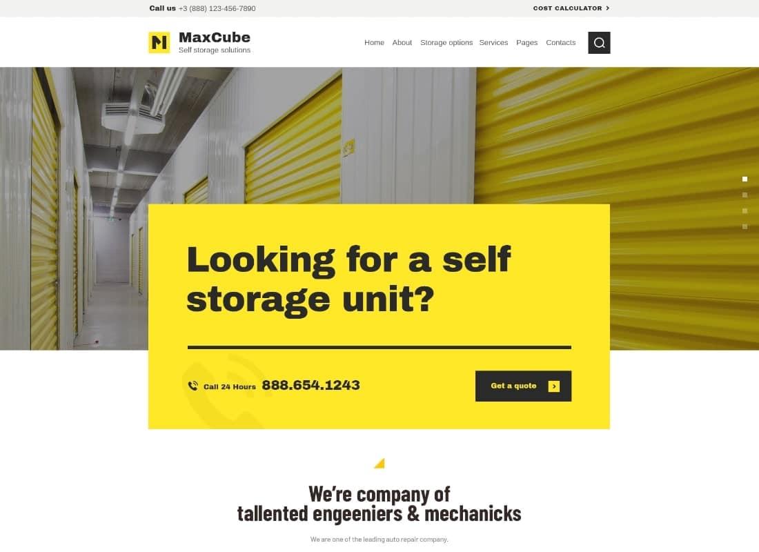 MaxCube | Moving & Self Storage Relocation Business WordPress Theme Website Template