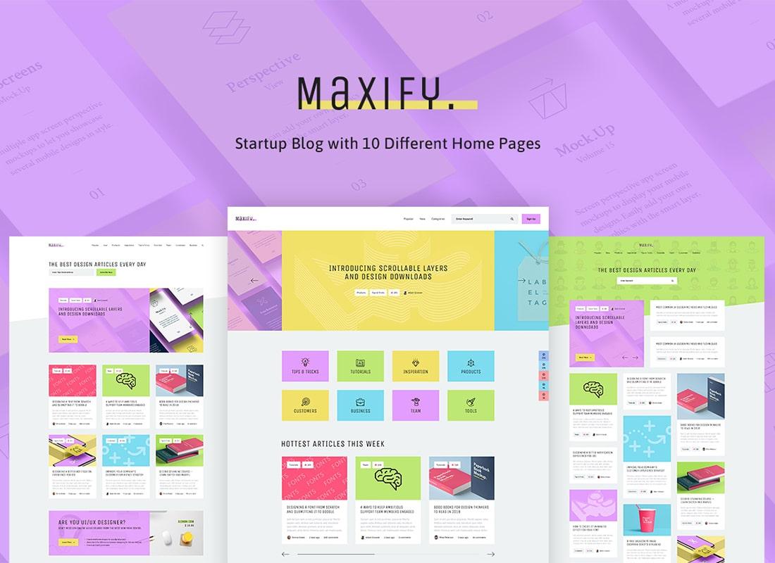 Maxify | Startup & Business Blog WordPress Theme Website Template