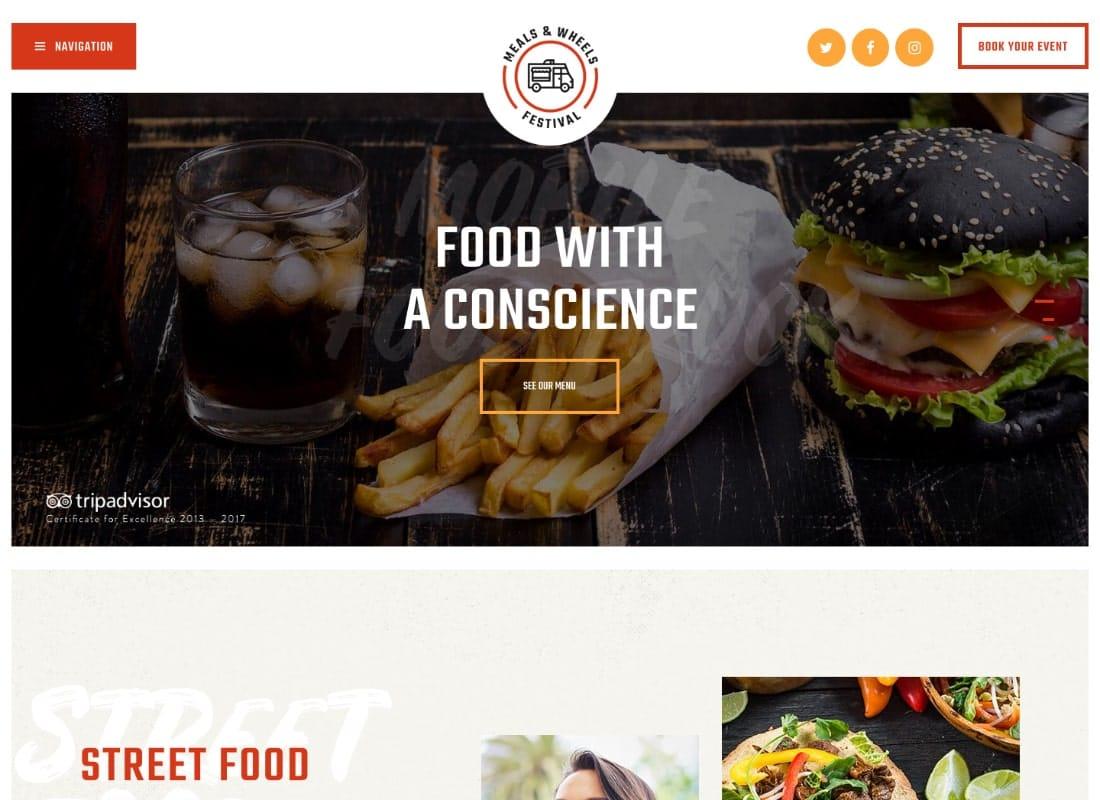 Meals & Wheels   Street Festival & Fast Food Delivery WordPress Theme Website Template
