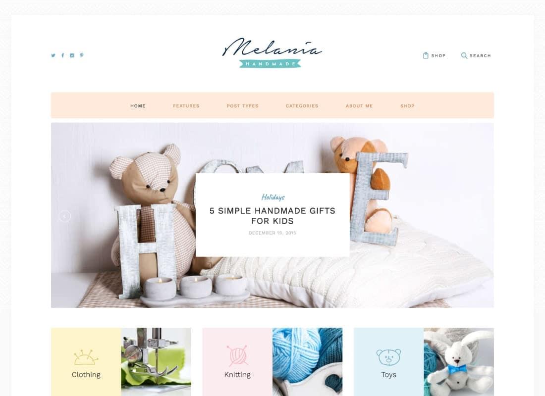 Melania   Handmade Blog & Crafts Shop Aristic WordPress Theme Website Template