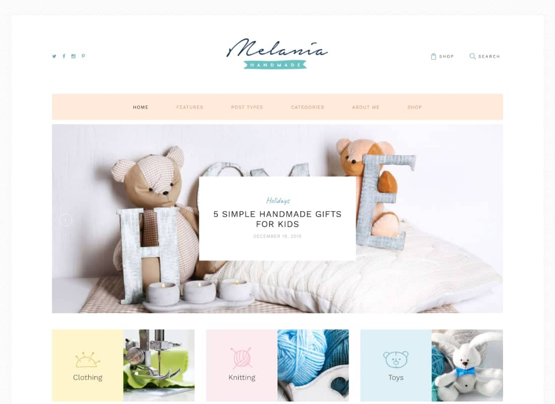 Melania | Handmade Blog & Crafts Shop Artistic WordPress Theme Website Template