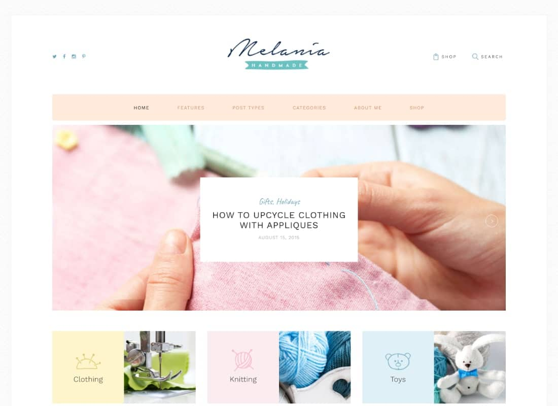 Melania | Handmade Blog & Shop WordPress Theme Website Template