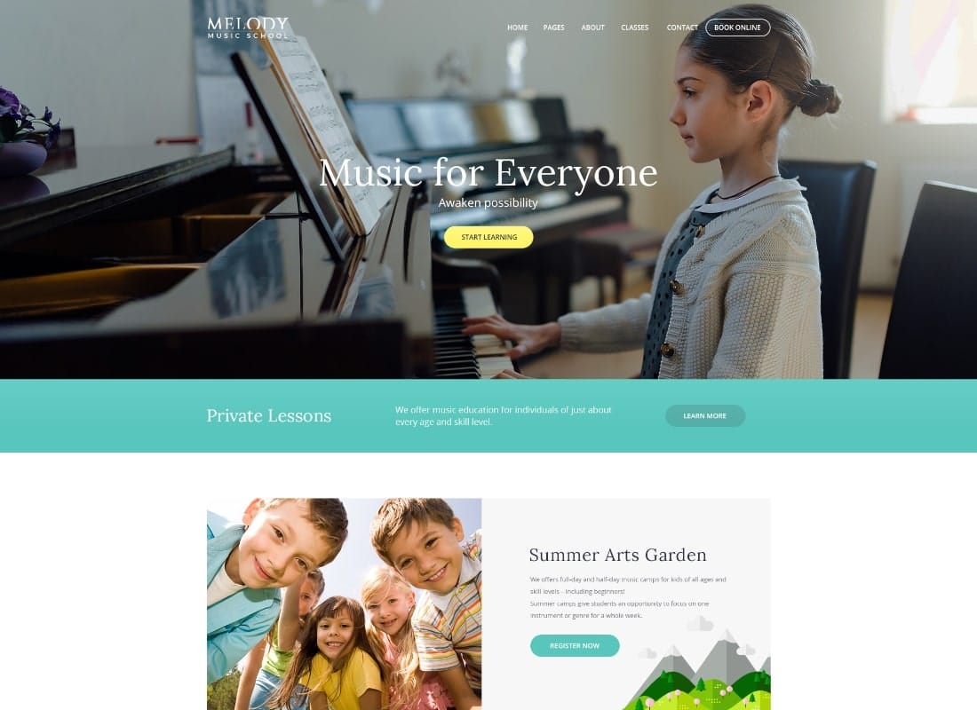 Melody - School of Arts & Music School WordPress Theme Website Template