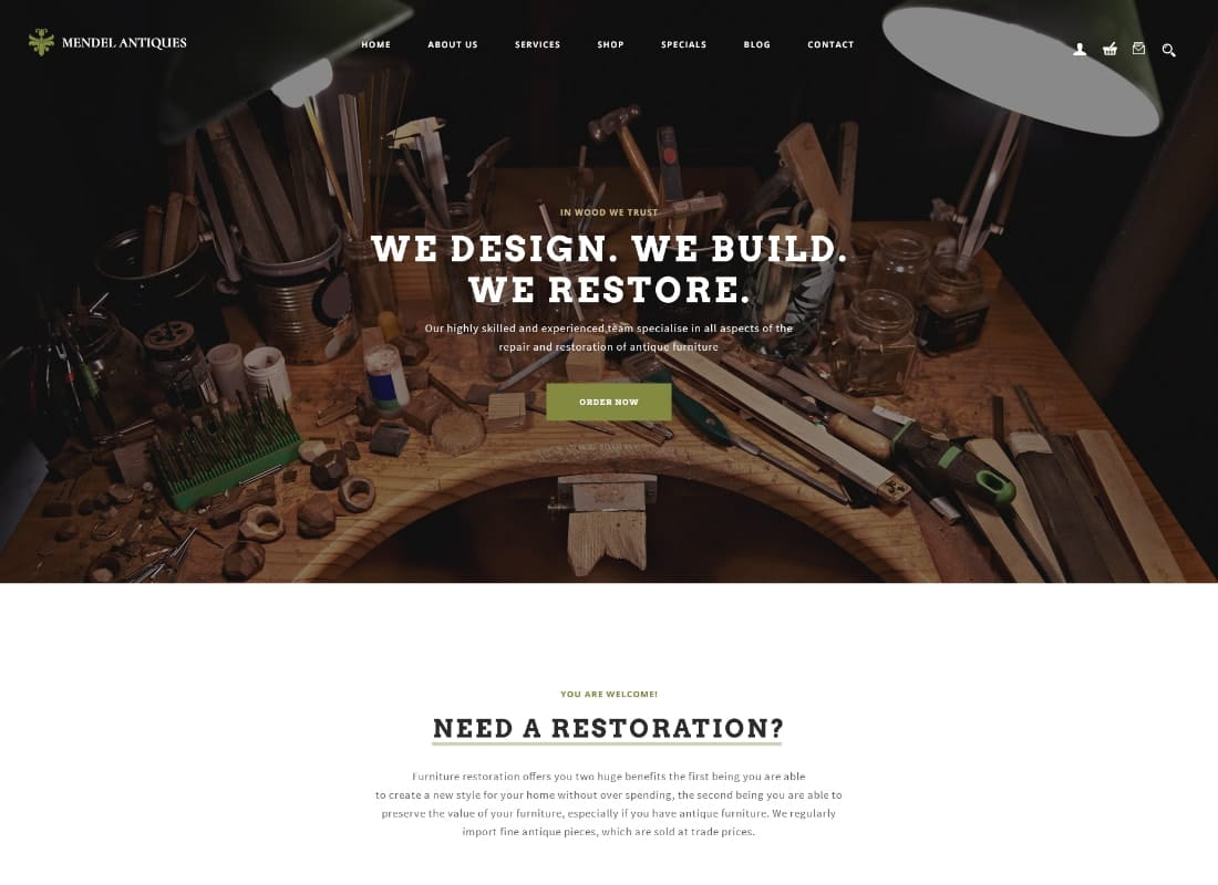Mendel | Furniture Design & Restoration WordPress Theme Website Template