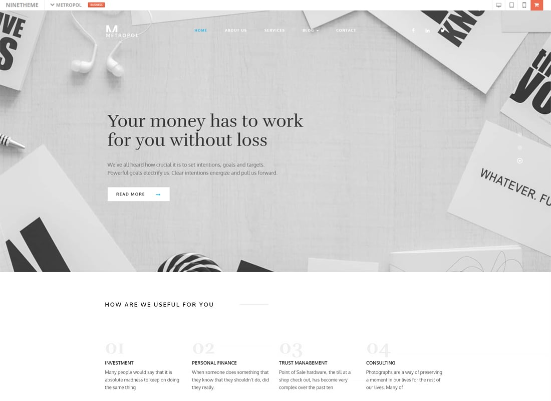 Metropol - A WordPress Theme For Investment & Finance   Website Template