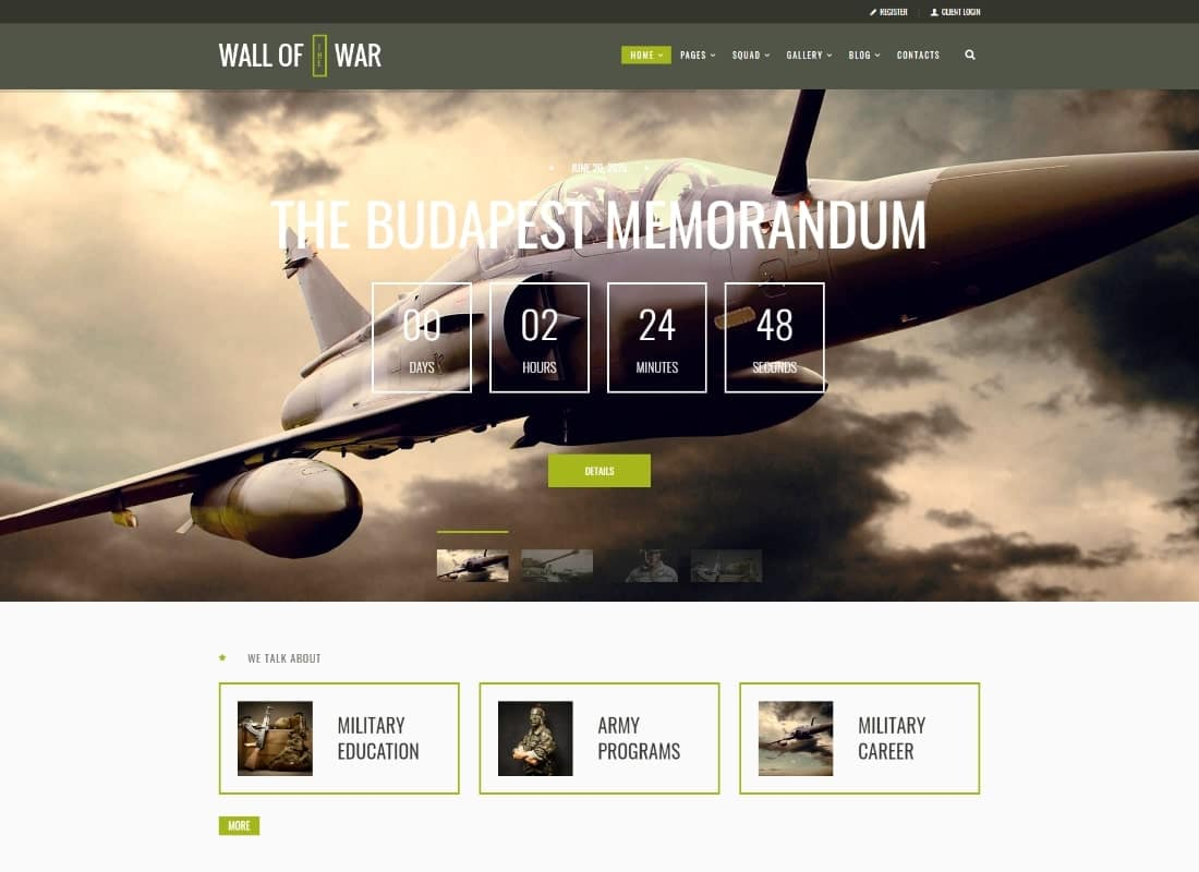 Military Service & Veterans Club Volunteer WordPress Theme Website Template