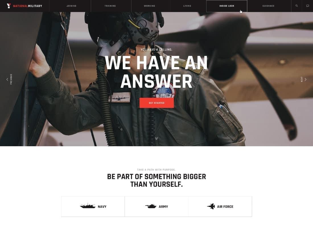 Military Service & Army Veterans Army WordPress Theme Website Template