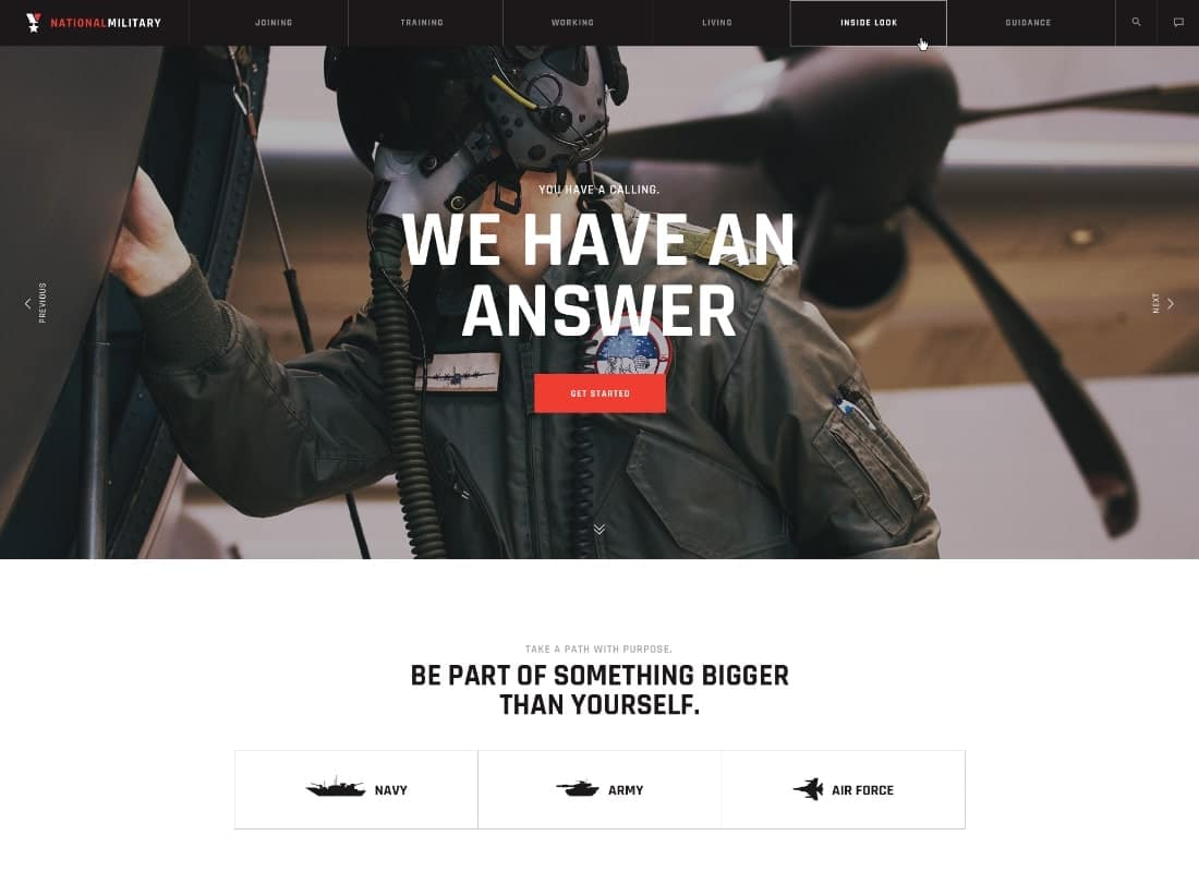 Military Service & Army Veterans Army WordPress Theme Website Template