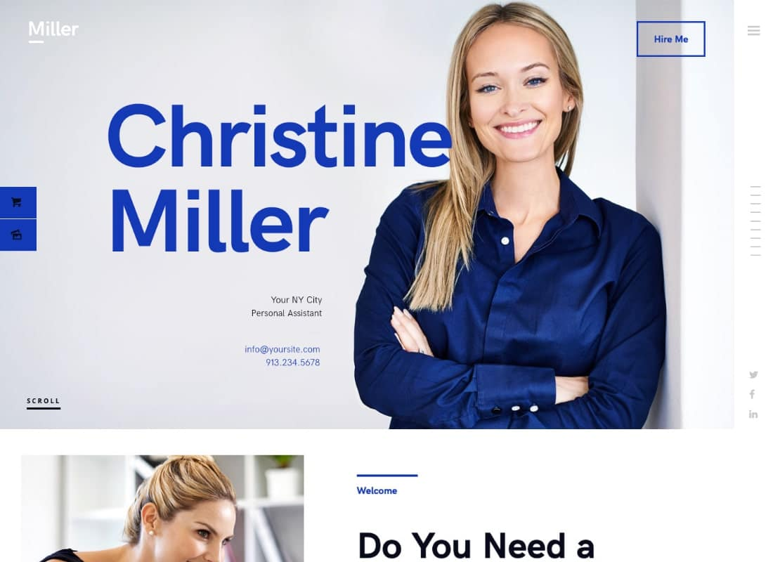 Miller | Personal Assistant & Administrative Services WordPress Theme Website Template