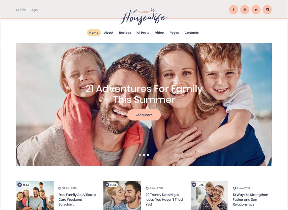Modern Housewife   Women & Family WordPress Blog Theme Website Template