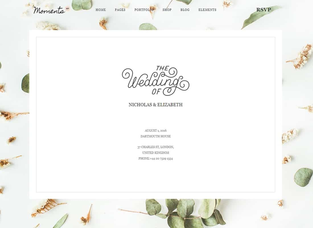 Moments - Multipurpose Wedding WordPress Theme Website Template