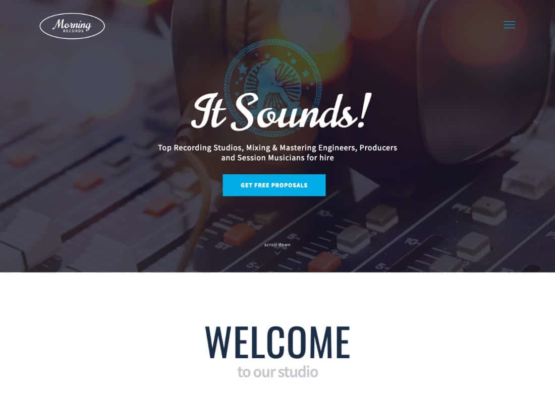 Morning Records - A Stylish Sound Electronic Studio WordPress Theme Website Template