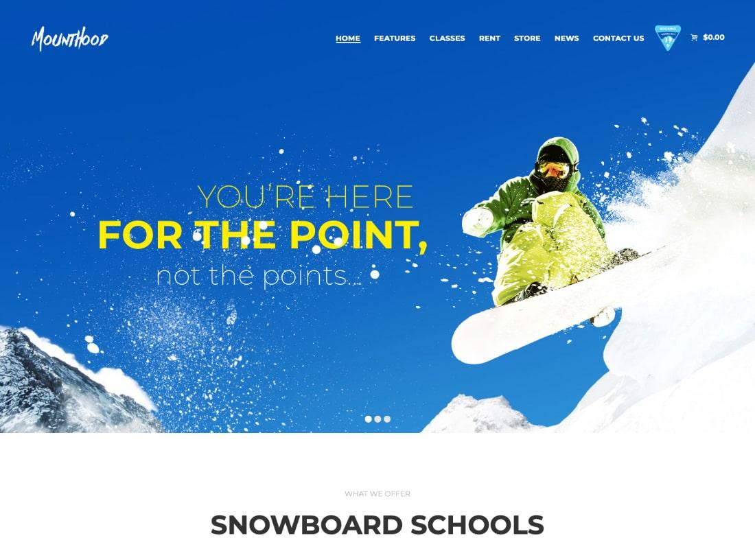 Mounthood | A Modern Ski and Snowboard School WordPress Theme Website Template