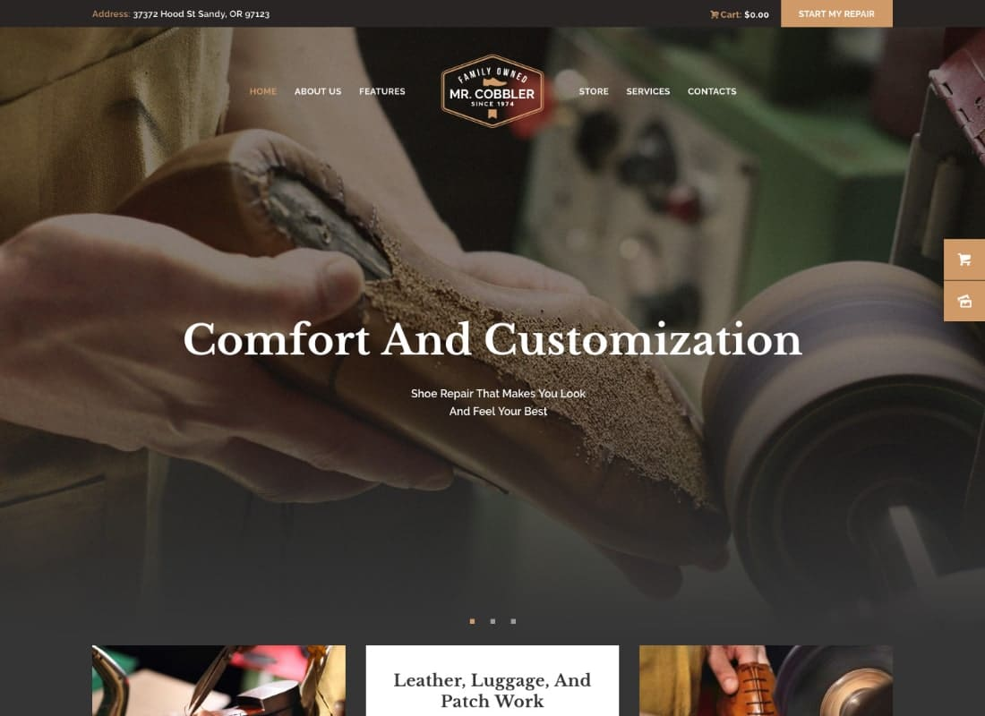 Mr. Cobbler | Custom Shoemaking & Footwear Repairs WordPress Theme  Website Template