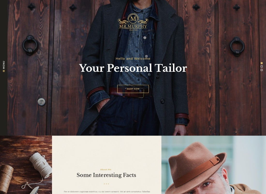 Mr. Murphy - Custom Dress Tailoring Clothing WordPress Theme Website Template