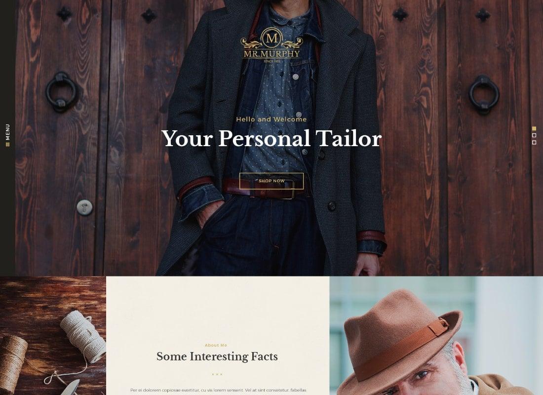 Mr. Murphy | Custom Dress Tailoring Clothing WordPress Theme Website Template