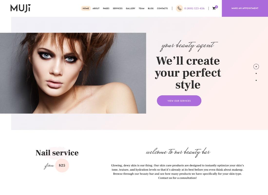 Muji   Beauty Shop & Spa Salon WordPress Theme Website Template
