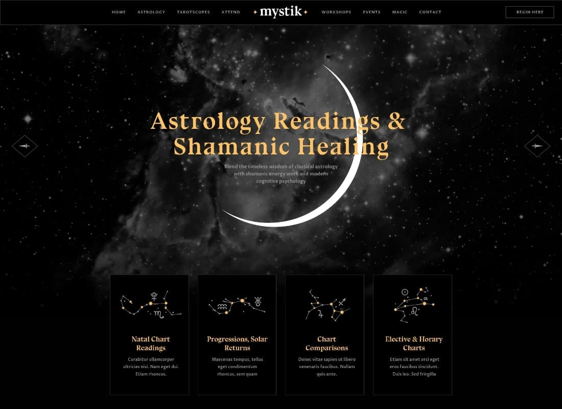 Mystik | Astrology & Esoteric Horoscope Fortune Telling WordPress Theme Website Template
