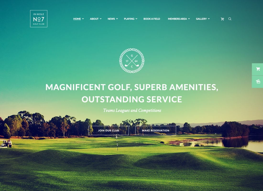 N7 | Golf Club & Course Sports & Events WordPress Theme Website Template