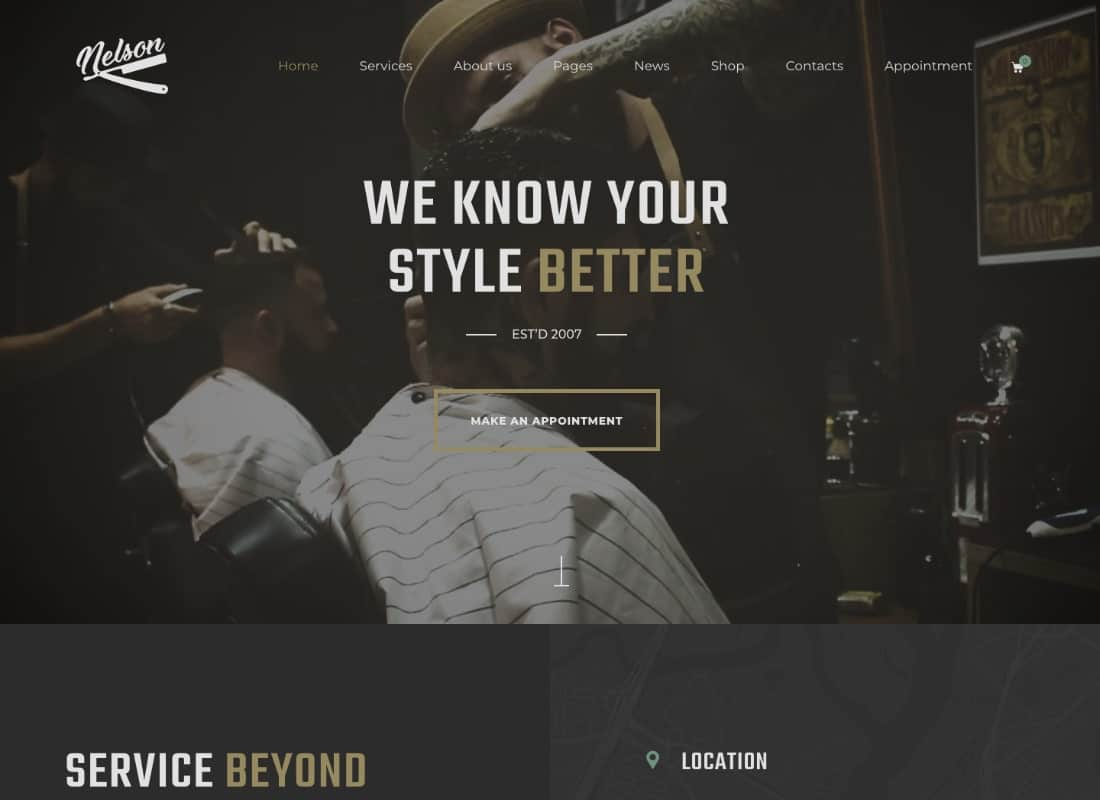 Nelson - Barbershop & Tattoo WordPress Theme Website Template