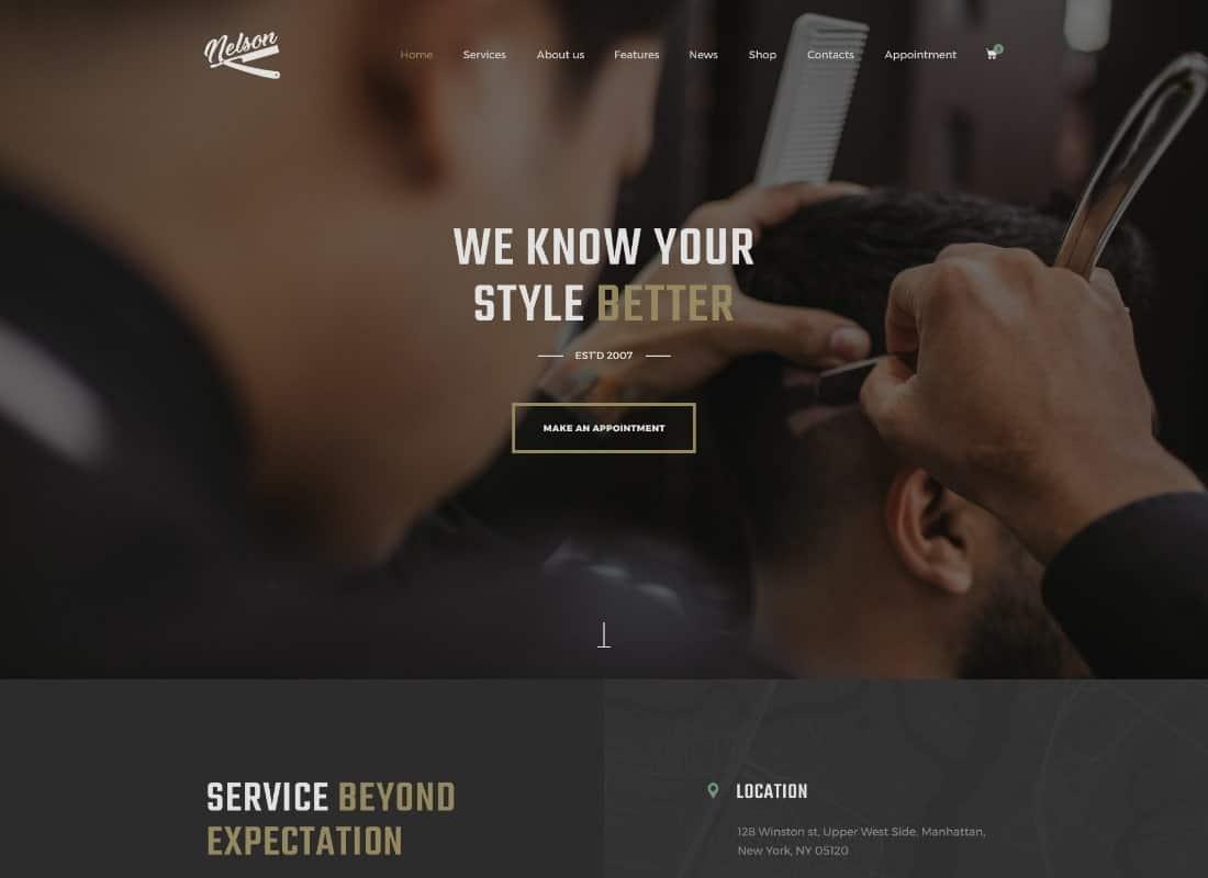 Nelson - Barbershop Hairdresser, Tattoo & Beauty Salon WordPress Theme Website Template