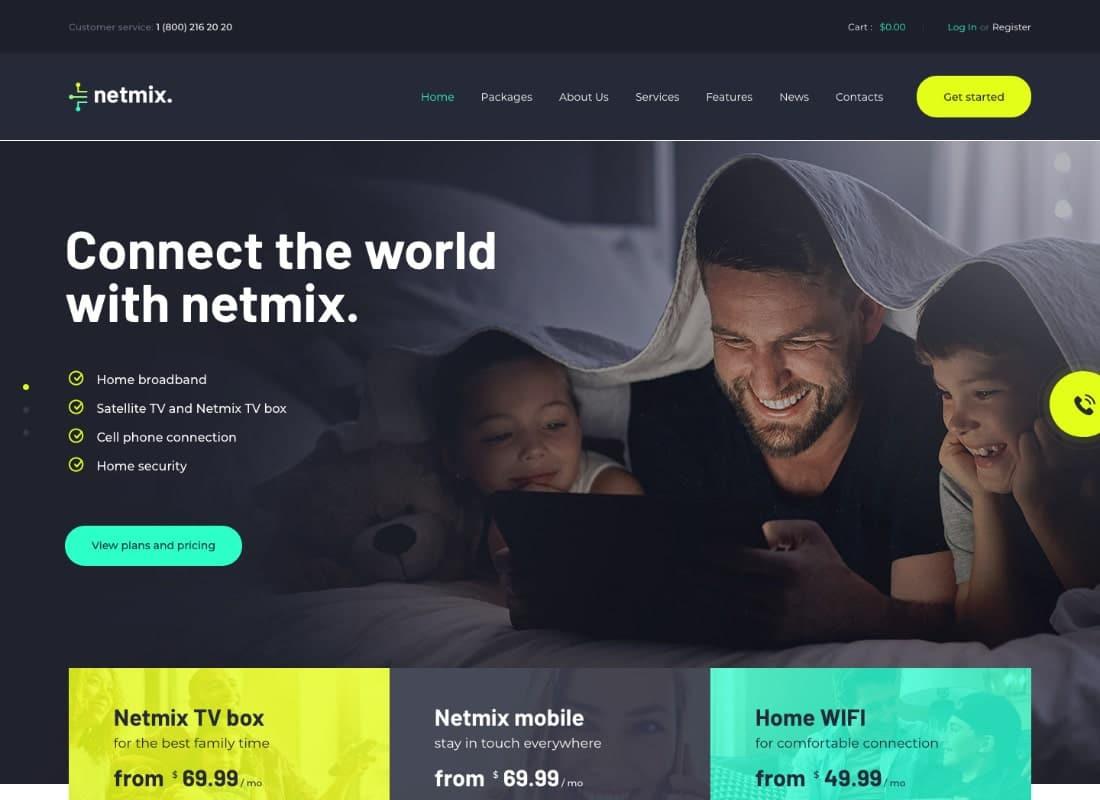 Netmix | Broadband & Telecom Internet Provider WordPress Theme Website Template