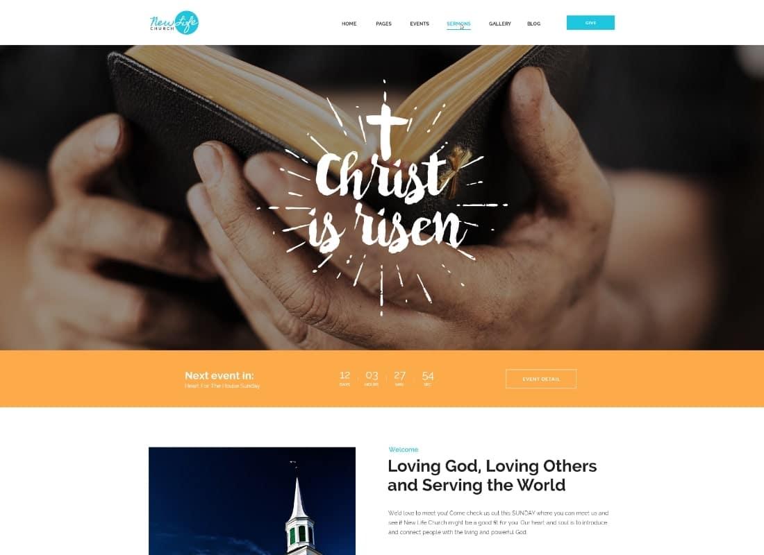 New Life | Church & Religion WordPress Theme Website Template