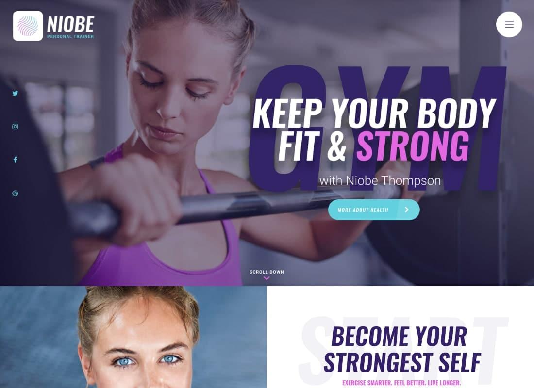 Niobe   A Gym Trainer & Nutrition Coach WordPress Theme Website Template