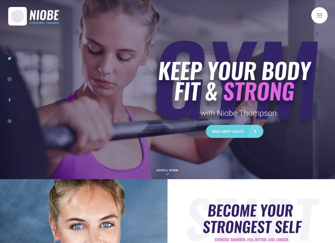 Niobe | A Gym Trainer & Nutrition Coach WordPress Theme Website Template
