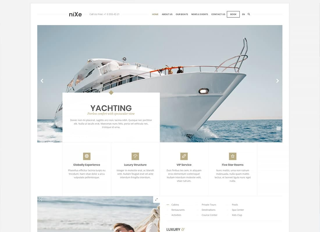 Nixe | Hotel, Travel and Holiday WordPress Theme Website Template