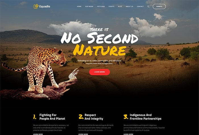 Equadio - Non-Profit and Environmental WordPress Theme Website Template