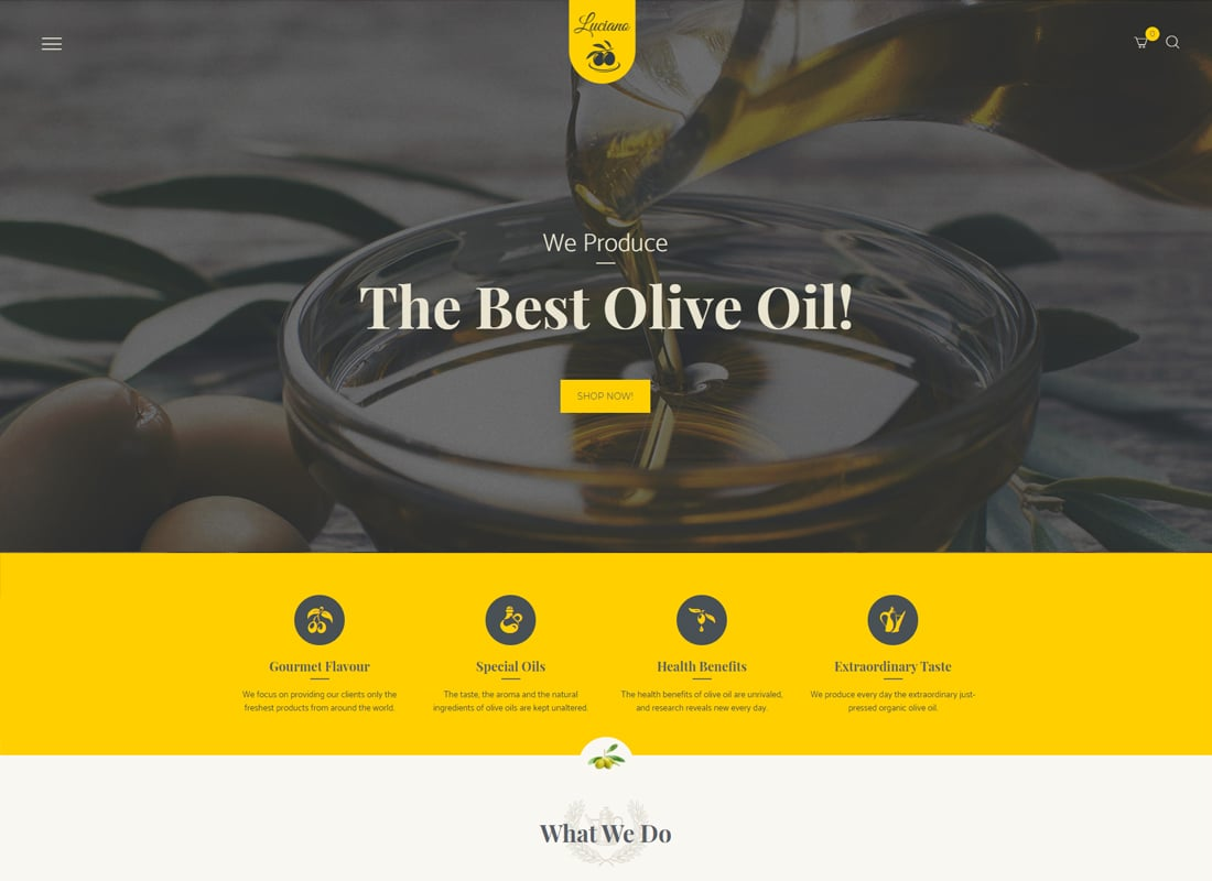 Olive Oil and Vinegars Production WordPress Theme   Website Template