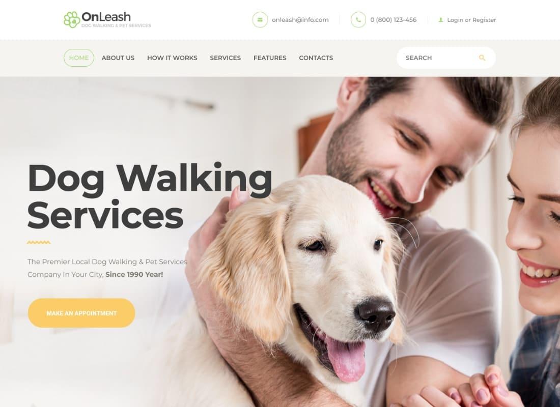 OnLeash | Dog Walking & Pet Services Veterinary WordPress Theme Website Template