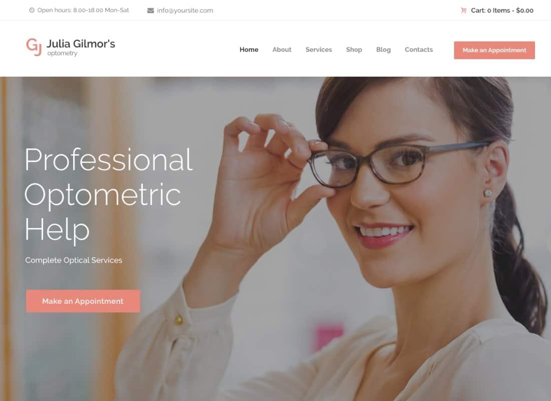 Optometry, Optician & Optics Store Medical WordPress Theme Website Template