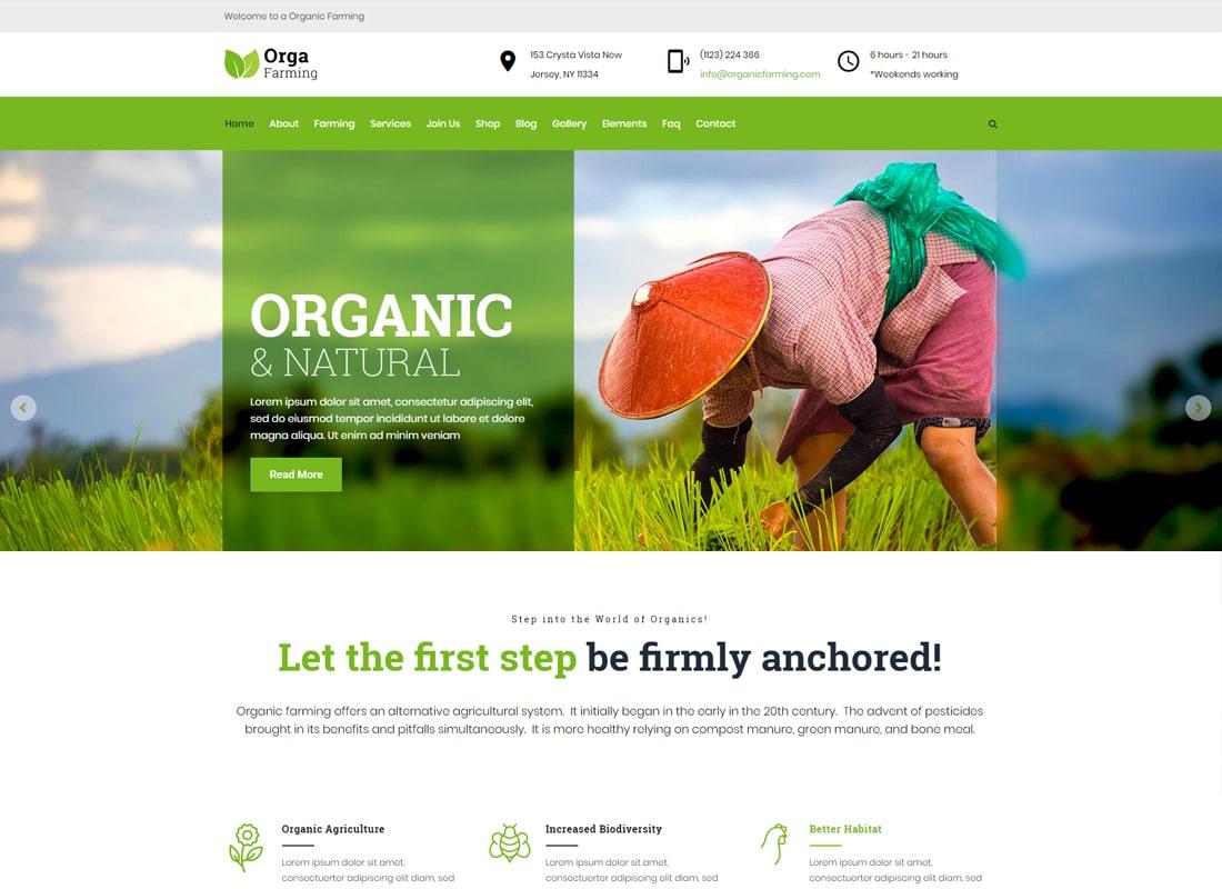 Orga Farm - Organic Food, Organic Farm WordPress Theme   Website Template