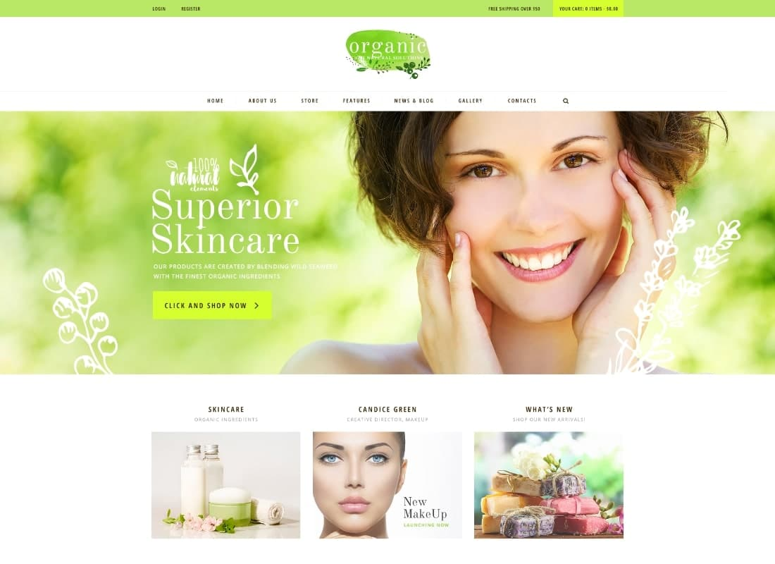 Organic Beauty | Beauty Store & Natural Cosmetics PSD Template Website Template
