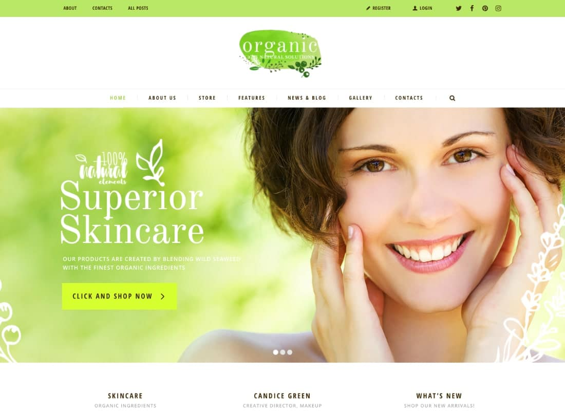 Organic Beauty Store & Natural Cosmetics WordPress Theme Website Template