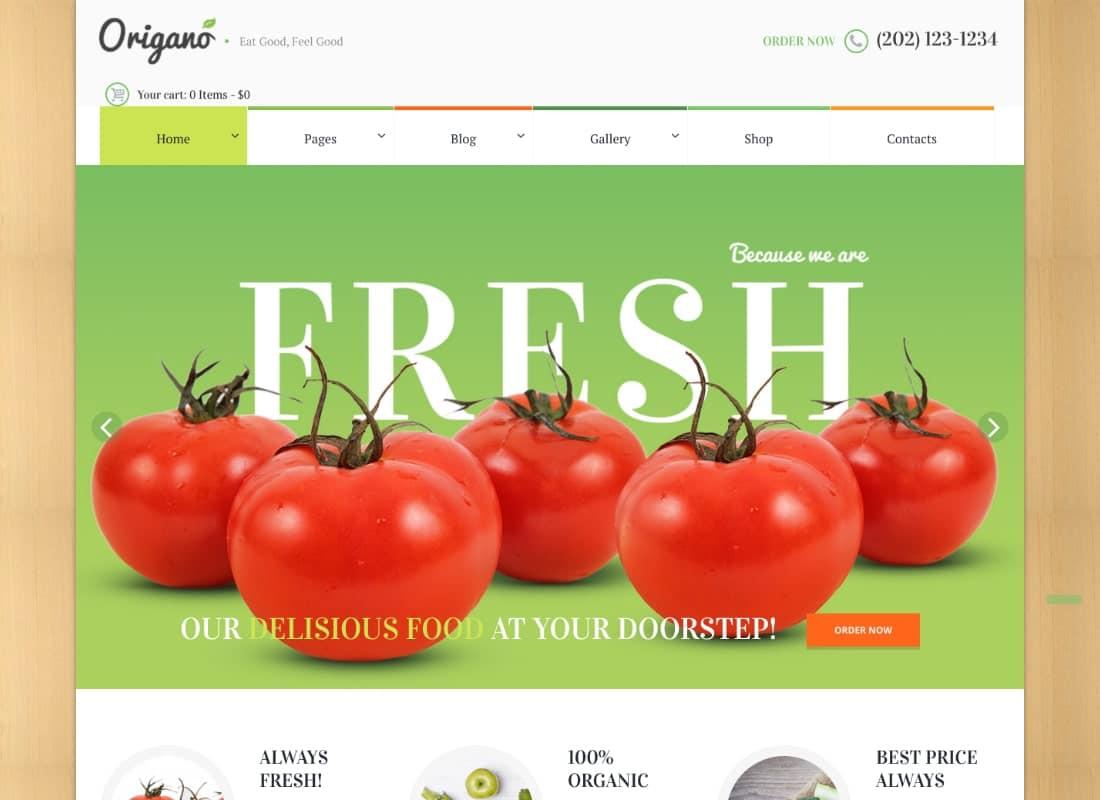 Origano - Organic Food & Eco Farm WordPress Theme Website Template