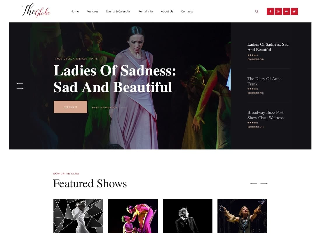 OsTende | Theater WordPress Theme Website Template