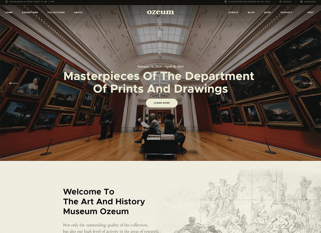 Ozeum | Modern Art Gallery and Creative Online Museum WordPress Theme Website Template
