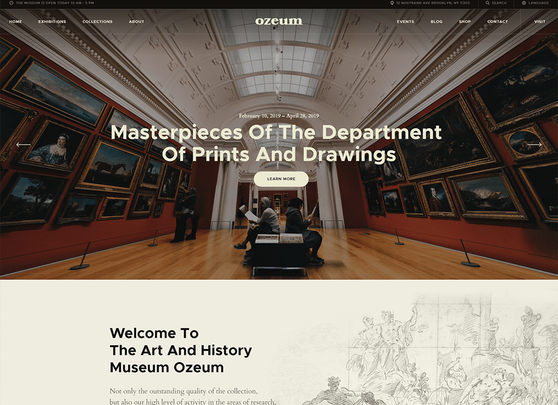 Ozeum | Modern Art Gallery and Creative Online Museum WordPress Theme Website Template