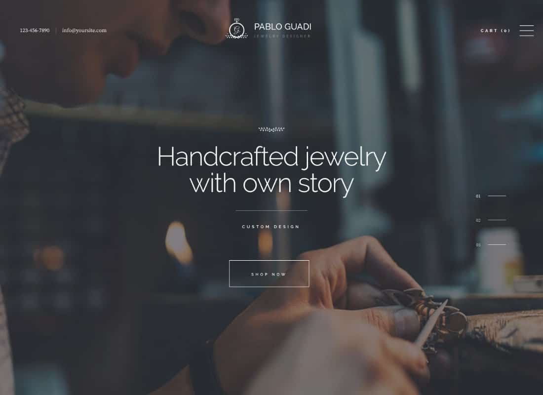 Pablo Guadi - Precious Stones Designer & Handcrafted Jewelry Online Shop WordPress Theme Website Template