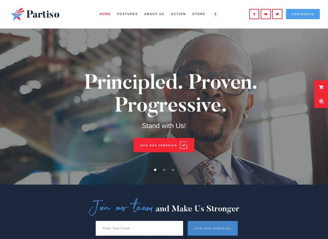 Partiso | Political WordPress Theme for Party & Candidate Website Template