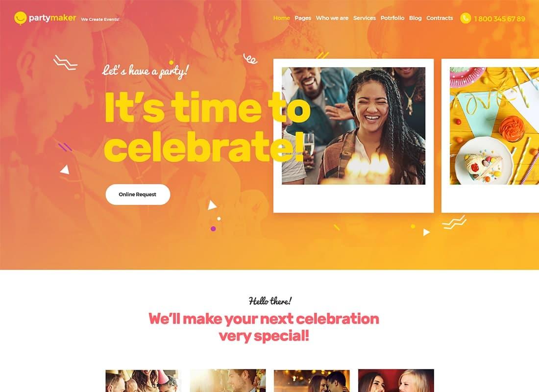 PartyMaker | Event Planner & Wedding Agency WordPress Theme Website Template